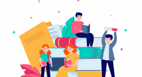 Focused tiny people reading books